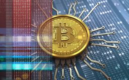 3d bitcoin chip schema. 3d illustration of bitcoin over hexadecimal background with chip schema Royalty Free Stock Image