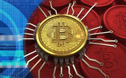 3d bitcoin chip schema. 3d illustration of bitcoin over red coins background with chip schema Royalty Free Stock Photography