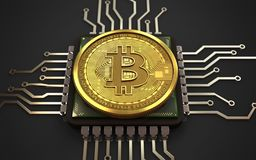 3d bitcoin cpu Vector Illustratie