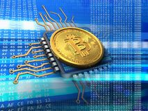 3d bitcoin with cpu blue Stock Photography