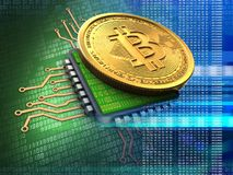 3d bitcoin with cpu blue Royalty Free Stock Images