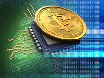 3d bitcoin with cpu blue. 3d illustration of bitcoin over green background with cpu blue Stock Images