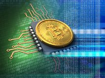 3d bitcoin with cpu blue Stock Image