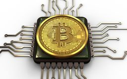 3d bitcoin CPU. 3d illustration of bitcoin over white background with CPU Stock Photography