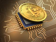 3d bitcoin with cpu gold Royalty Free Stock Photo