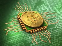 3d bitcoin with cpu gold. 3d illustration of bitcoin over green background with cpu gold Royalty Free Stock Photos