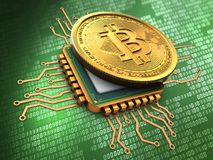 3d bitcoin with cpu gold Stock Photos