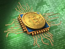 3d bitcoin with cpu gold Royalty Free Stock Images