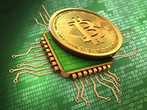 3d bitcoin with cpu gold. 3d illustration of bitcoin over green background with cpu gold Royalty Free Stock Photography