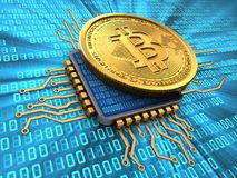 3d bitcoin with cpu. 3d illustration of bitcoin over binary background with cpu Royalty Free Stock Image