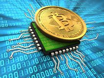 3d bitcoin with cpu. 3d illustration of bitcoin over binary background with cpu Stock Image