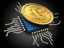 3d bitcoin with cpu. 3d illustration of bitcoin over black background with cpu Stock Photography