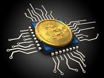 3d bitcoin with cpu. 3d illustration of bitcoin over black background with cpu Stock Images
