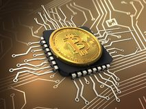 3d bitcoin with cpu Royalty Free Stock Photos