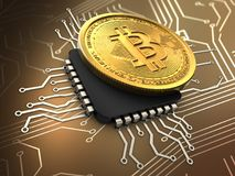 3d bitcoin with cpu. 3d illustration of bitcoin over circuit background with cpu Royalty Free Stock Images