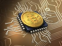 3d bitcoin with cpu. 3d illustration of bitcoin over circuit background with cpu Royalty Free Stock Image