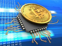 3d bitcoin with cpu. 3d illustration of bitcoin over cyber background with cpu Royalty Free Stock Images