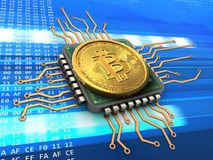 3d bitcoin with cpu. 3d illustration of bitcoin over cyber background with cpu Royalty Free Stock Photography