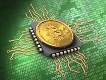 3d bitcoin with cpu Royalty Free Stock Image