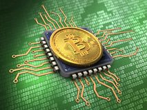 3d bitcoin with cpu Royalty Free Stock Photography