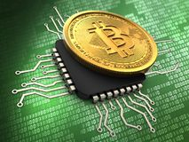 3d bitcoin with cpu. 3d illustration of bitcoin over green background with cpu Stock Photos