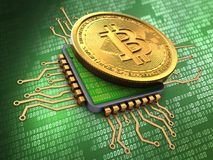 3d bitcoin with cpu. 3d illustration of bitcoin over green background with cpu Royalty Free Stock Image