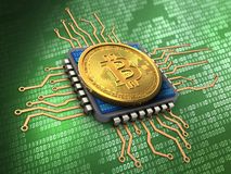 3d bitcoin with cpu. 3d illustration of bitcoin over green background with cpu Stock Image