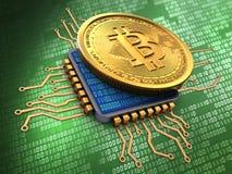 3d bitcoin with cpu Stock Photo