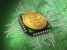 3d bitcoin with cpu Stock Image