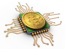 3d bitcoin with cpu. 3d illustration of bitcoin over white background with cpu Stock Images