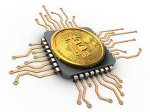 3d bitcoin with cpu. 3d illustration of bitcoin over white background with cpu royalty free stock photo