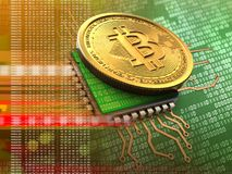 3d bitcoin with cpu orange. 3d illustration of bitcoin over green background with cpu orange royalty free stock photo