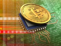 3d bitcoin with cpu orange. 3d illustration of bitcoin over green background with cpu orange Stock Image