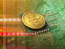 3d bitcoin with cpu orange. 3d illustration of bitcoin over green background with cpu orange Stock Photo