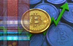 3d bitcoin. 3d illustration of bitcoin over blue coins background with Royalty Free Stock Photo