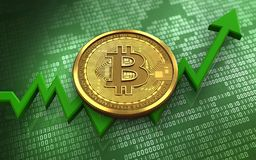 3d bitcoin. 3d illustration of bitcoin over green binary background with Royalty Free Stock Photo