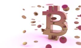 3d Bitcoin en muntstukken van achtergrond, Royalty-vrije Stock Fotografie