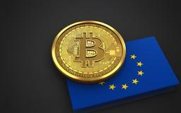 3d bitcoin EU flag Royalty Free Stock Photo
