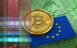 3d bitcoin EU flag. 3d illustration of bitcoin over green binary background with EU flag Stock Images
