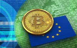 3d bitcoin EU flag. 3d illustration of bitcoin over green binary background with EU flag Stock Photos