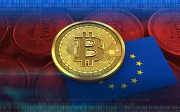 3d bitcoin EU flag Royalty Free Stock Image
