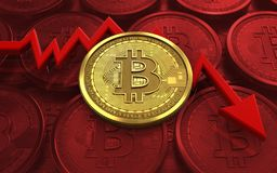 3d bitcoin failure diagram. 3d illustration of bitcoin over red coins background with failure diagram Stock Photography