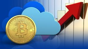 3d bitcoin. 3d illustration of clouds over rising charts background with bitcoin Stock Photography