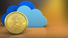 3d bitcoin. 3d illustration of clouds over yellow background with bitcoin royalty free illustration