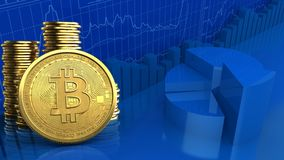 3d bitcoin. 3d illustration of coins over business charts background with bitcoin Royalty Free Stock Photos