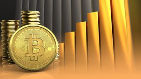 3d bitcoin. 3d illustration of coins over golden charts background with bitcoin Stock Image