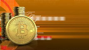 3d bitcoin. 3d illustration of coins over orange cyber background with bitcoin Stock Photos