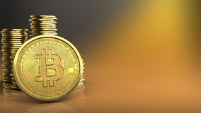 3d bitcoin. 3d illustration of coins over yellow background with bitcoin Stock Photo