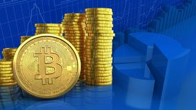3d bitcoin. 3d illustration of coins stack over business charts background with bitcoin Royalty Free Stock Photos