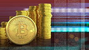 3d bitcoin. 3d illustration of coins stack over red cyber background with bitcoin Royalty Free Stock Photo